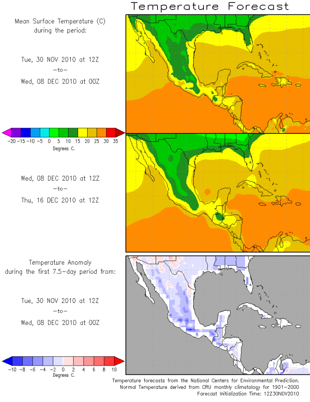 Mexico Temperature and Departure From Normal December 2010