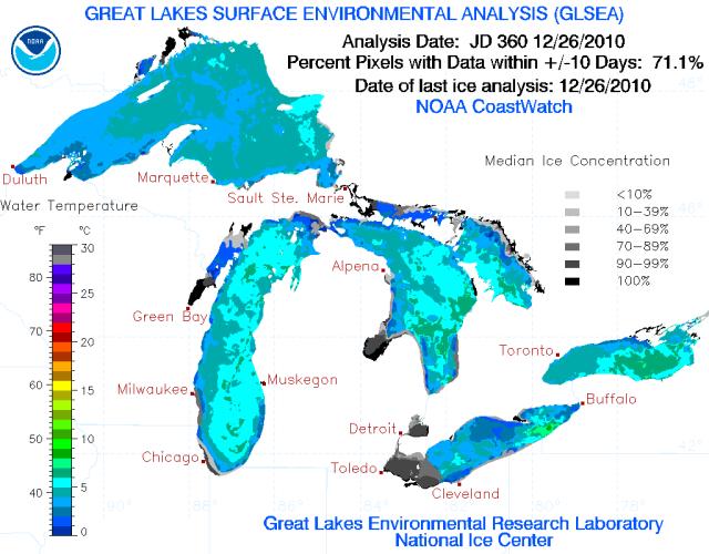 Great Lakes Temperatures 26 Dec 2010