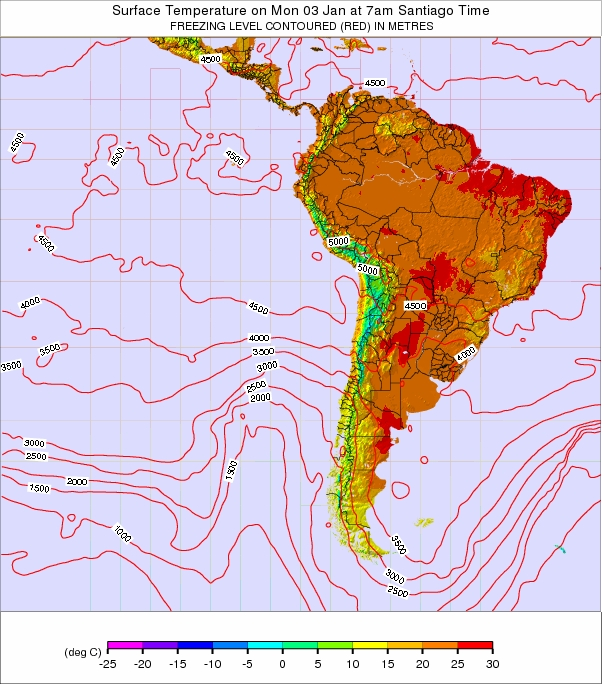 South America Freezing Levels in Meters