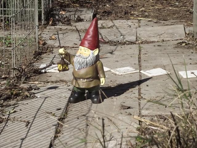 Gnome gnomon sundial in my garden