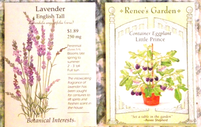 Seed packages: Lavender and Egg Plant front