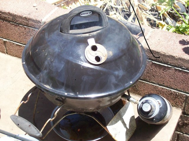 """Vortex"" brand small grill - note wisps of smoke at the front edge"