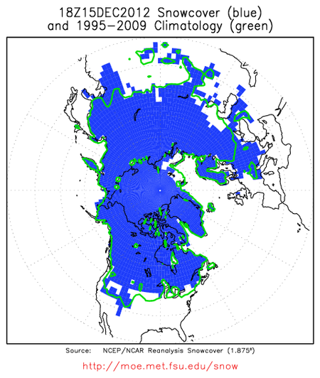 Northern Hemisphere Snow Cover 15 Dec 2012