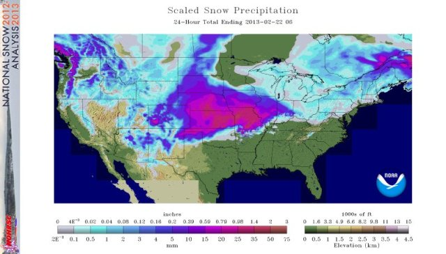 Snow Precipitaion ruc 24hr 2013 02 22 05 National