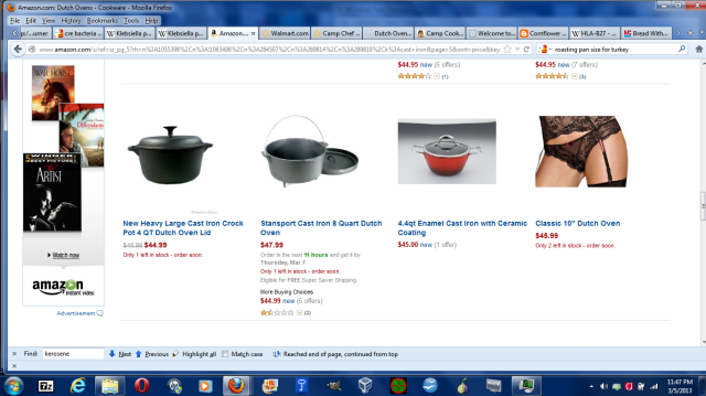 At Amazon shopping for a Dutch Oven