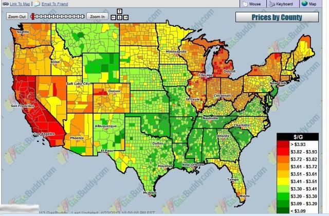 Gas Map 23 April 2013
