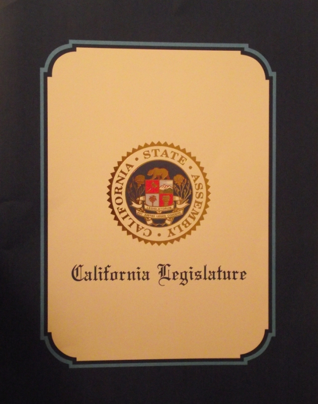 California Legislative Award cover 11 x 14