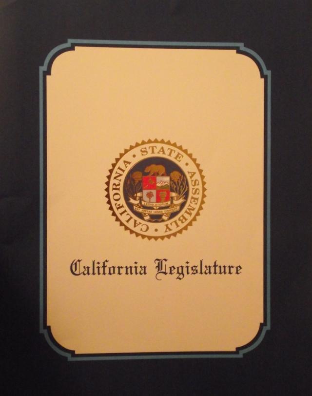 California Legislative Award cover 11 x 14