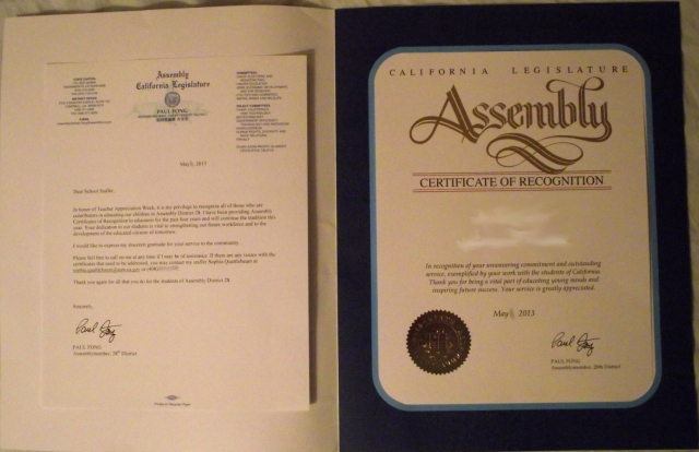 California Legislative Award Letter and Certificate