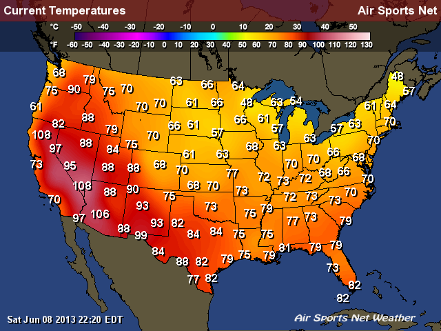 Temperature Map 8 June 2013