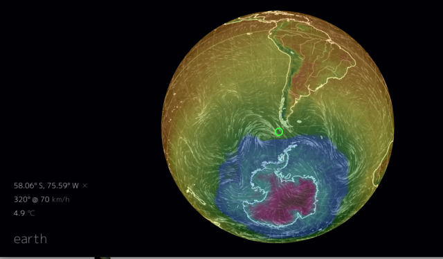 Nullschool temps and winds at South Pole WAP
