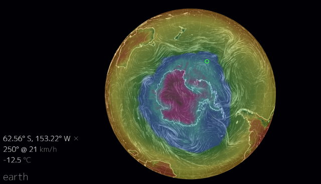 South Pole temp near ice shelf edge  22Oct2014