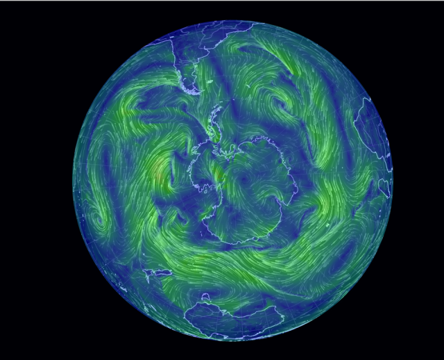 South Polar winds 20 October 2014 at 10:50 AM ET