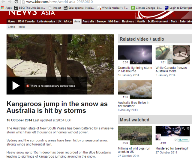 BBC Australian Snow, Kangaroo, and Heat
