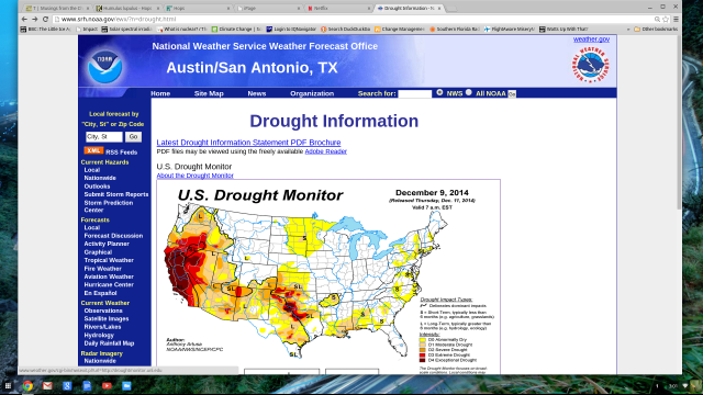 Drought Index 2014 Dec 12 showing California Drought