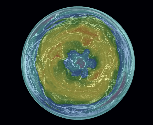 Polar view of Earth from Nullschool at 850 mb temperature data 10 Nov 2014