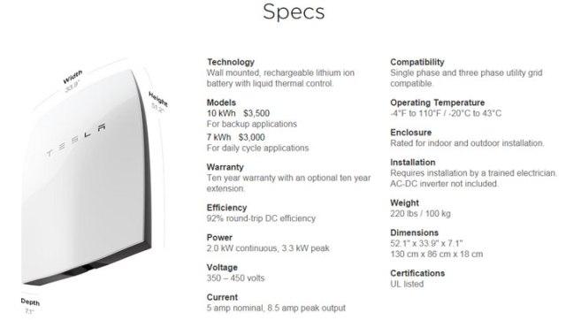 Tesla Battery Specs
