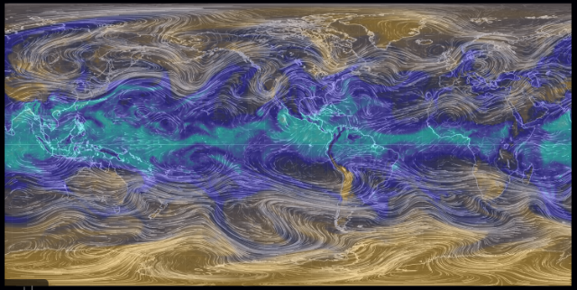 Earth 250 mb wind with Total Precipitable Water