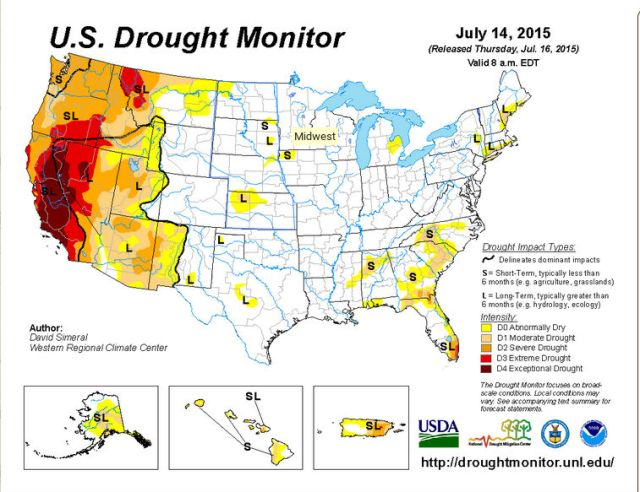 Palmer Drought map July 2015