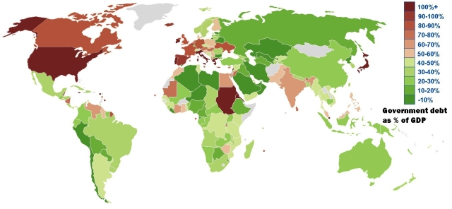 Debt / GDP ratio shows who is in trouble as of 2013
