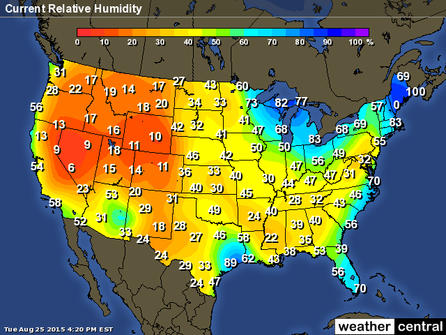 USA Humidity Map 25 Aug 2015