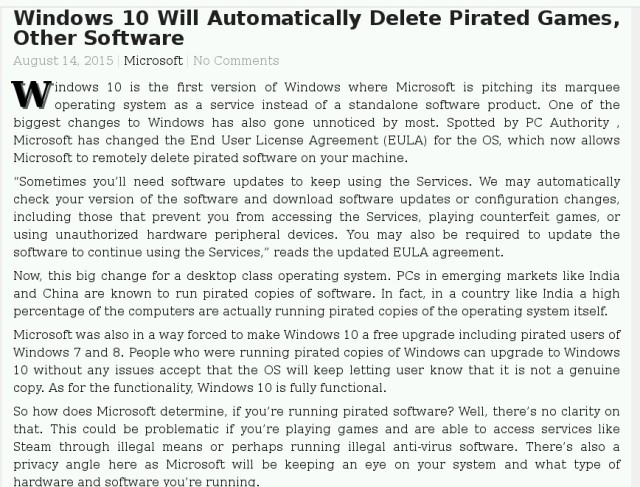 Quote on Windows 10 and software deletion