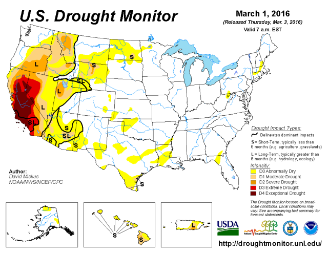 March 1, 2016 Drought Map
