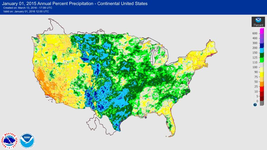 2015 USA Precipitation Percent map