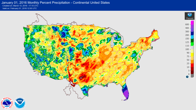 USA precipitation percents January 2016