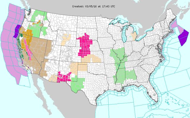 March 5, 2016 USA Weather Hazard Map