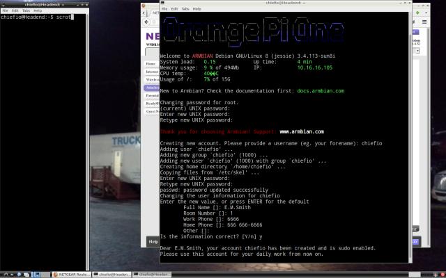 Orange Pi via Raspberry Pi first login screen