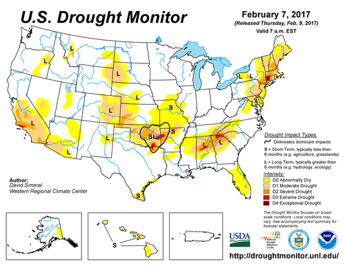 Drought Monitor Map 9 Feb, 2017
