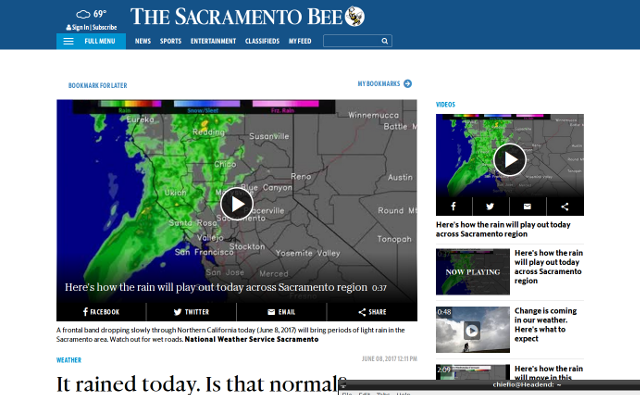Sacramento Bee June 2017 Rain Map