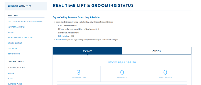 Squaw Valley Ski Resort, open with 3 runs, July 15, 2017