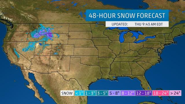 24 hour snow forecast from Thursday - Snow arrives in the continental 48