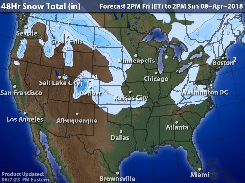 8 April 2018 Snow Forcast for the USA