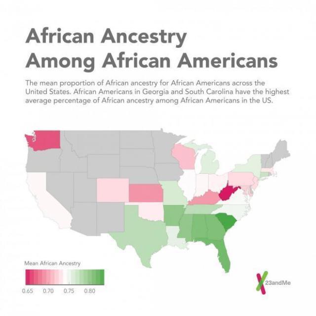 Percentage African Genes in African Americans