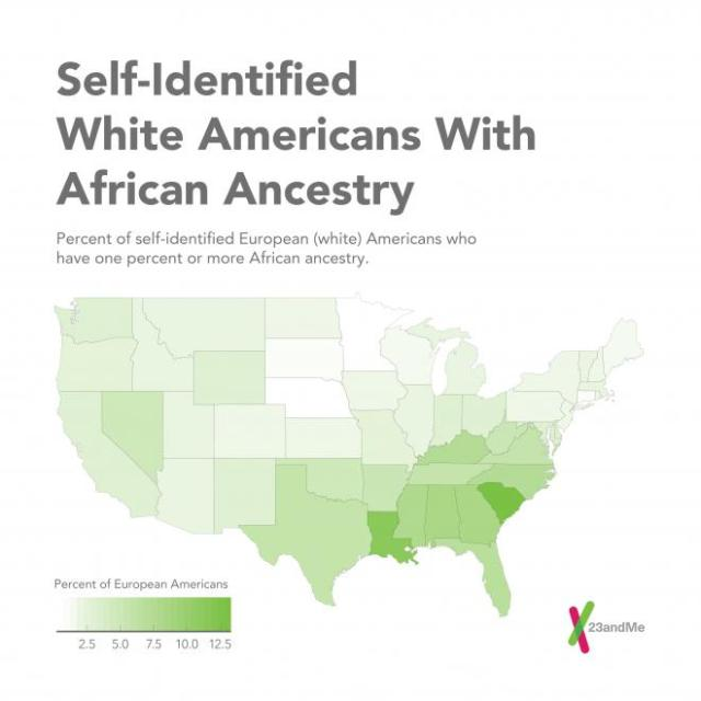 Percent of White Population with African Genes