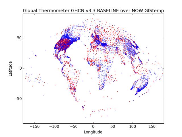"""GHCN v3.2 Baseline blue 50% transparent over 2015 """"now"""" in red"""