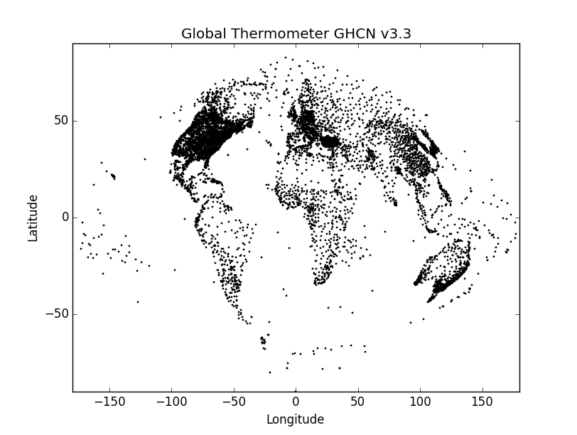 GHCN v3.3 Thermometers on sine globe with labels
