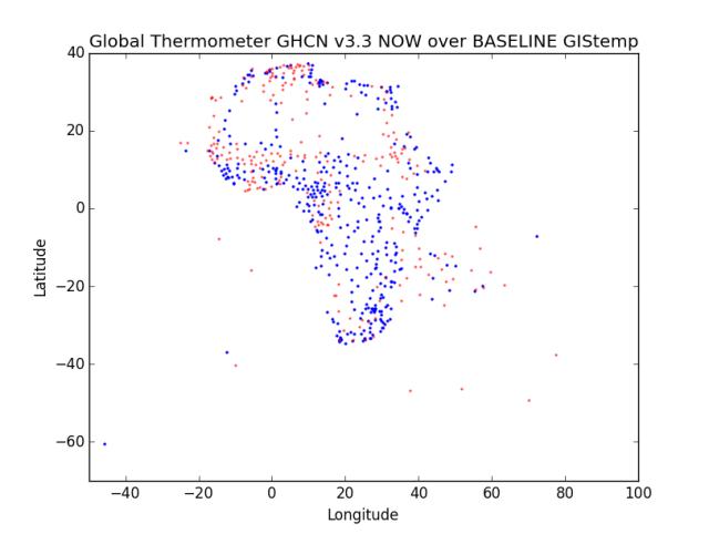 Region 1 - Africa Now Over Baseline GHCN v3.3