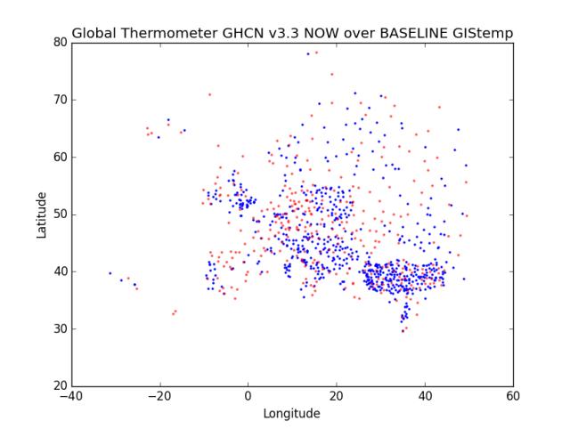 Region 6 - Europe Now over Baseline GHCN v3.3