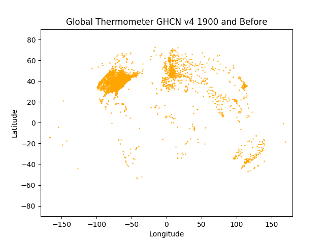 GHCN v4 Coverage 1900 and Before