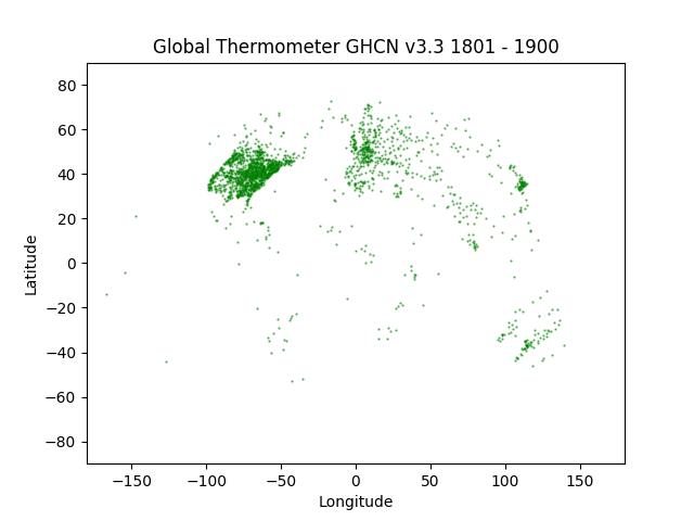 GHCN v3.3 Between 1800 and 1900