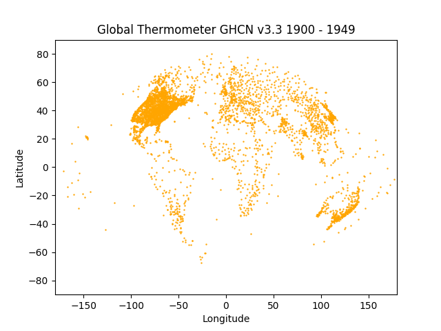 GHCN v3.3 thermometers 1900 to 1949