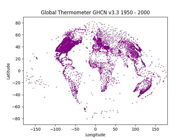 GHCN v3.3 thermometers 1950 - 2000