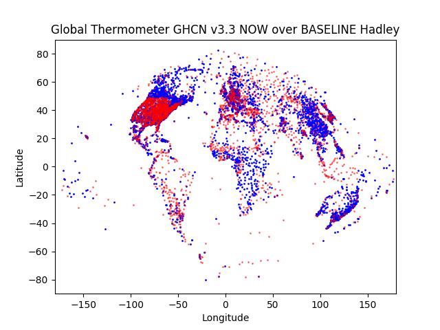 Hadley Baseline (1960-1990) vs most current year GHCN v3.3