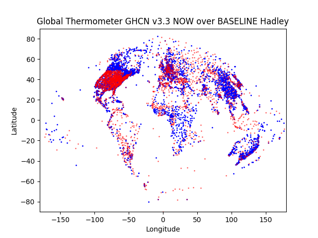 Hadley Baseline (1960-1990) vs most current year GHCN v3.3