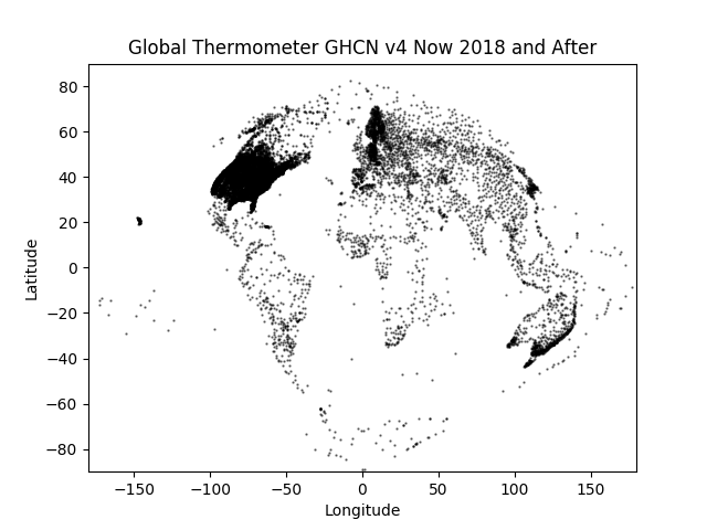 "GHCN v4  Coverage ""Now"" (2018 and newer)"