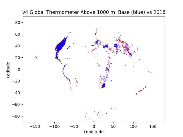 GHCN v4 1000m Altitude Baseline blue over 2018